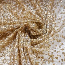 55-1 Золото-белое деграде глиттерная ткань, крупные блестки