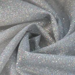 03-1 Серебряная глиттерная ткань, мелкие блестки