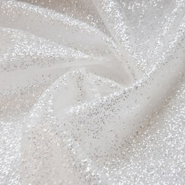 01-1 Белая глиттерная ткань, крупные блестки