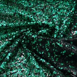 16-1 Зелено-черное деграде глиттерная ткань, крупные блестки