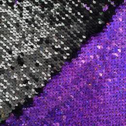 31-1 Фиолетово-лиловый - черный, двусторонняя пайеточная ткань на трикотаже