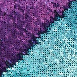 12-1 Голубой-малиновый, двусторонняя пайеточная ткань на трикотаже