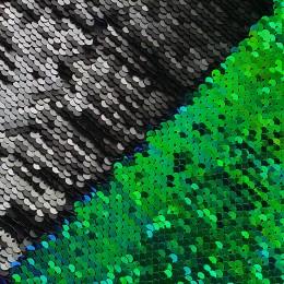 15-1 Зелено-синий скарабей - черный, двусторонняя пайеточная ткань на трикотаже