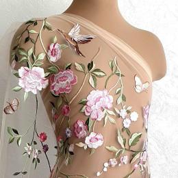 5602 Чайная роза Цветное вышитое кружево в пастельных тонах на телесном фатине